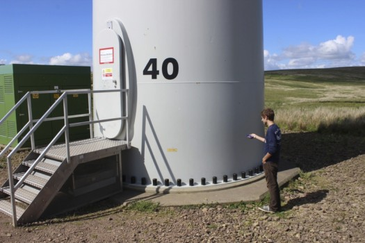Me, taking a sound recording at the base of turbine #40 at Whitelee Wind Farm in Eaglesham.