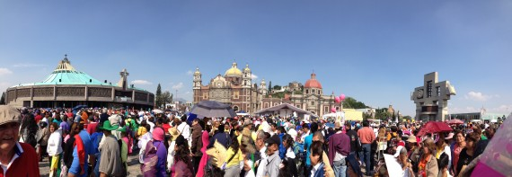 Annual Pilgrimage Mass with the Archbishop, thousands of pilgrims in the square between the new and old basilicas for mass.