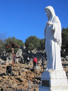 Statue of Our Lady, Queen of Peace on Apparition Hill.