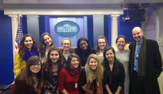 Benton Scholars visiting the White House Press Room with Colgate Alum Steve Posner, Associate Director for Strategic Planning and Communications.