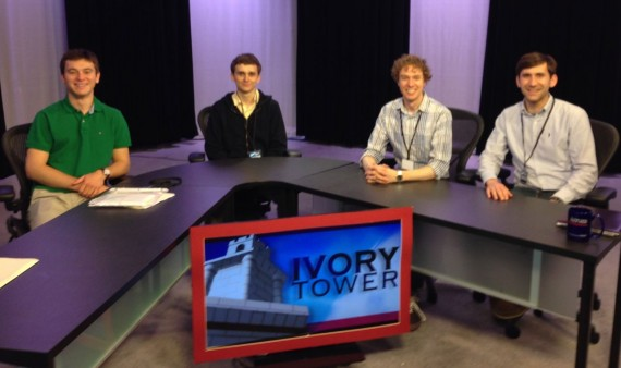 "Benton Scholars and staff on the set of WCNY's ""Ivory Tower."""