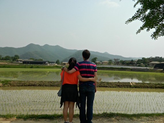 Rice farms, like this one in the Hahoe Village, covered the countryside. Even though it is a relatively small country, the South Korean landscape includes mountains, cityscapes, rural expanses and seasides.