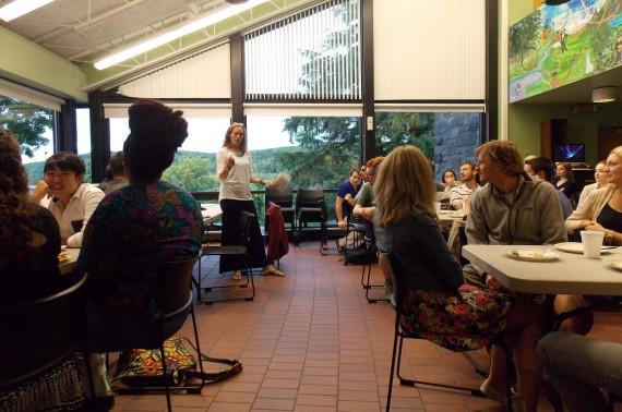 Professor Karen Harpp discusses with students