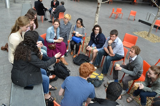 The Benton Scholars meet for a discussion during their trip to San Francisco in March, 2015.