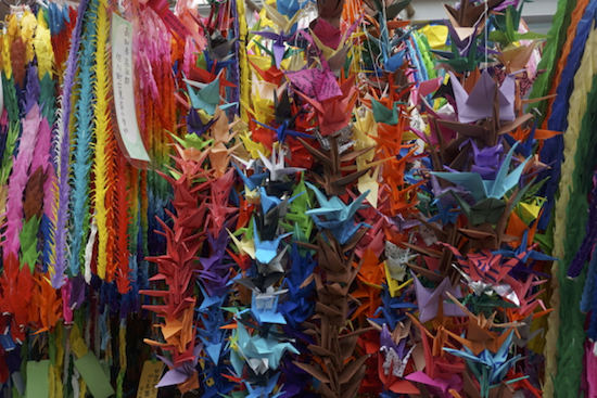 Cranes of hope – we folded 1000 and left them at the Monument.