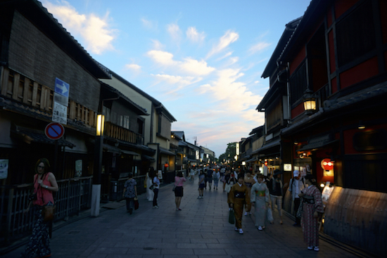 Wandering lanes in the dusk in Kyoto.