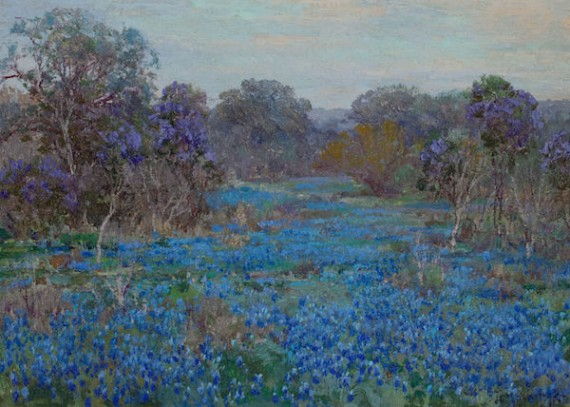 15 - Flowers - Field of Bluebonnets with Trees by Julian Onderdonk