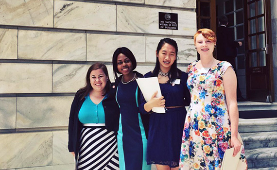 Jazmyn McKoy '17 leading youth activists on a Capitol Hill visit as part of her internship experience at the Campaign for Tobacco Free Kids.