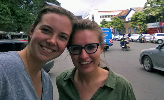 Ewa Protasiuk `15 and Sarah Wooton `15 recipients of the Projects for Peace grant during their work in Uganda.