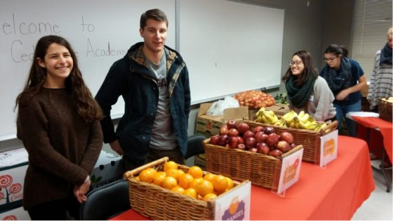 Students volunteering at pop-up food cupboard in Washington DC.