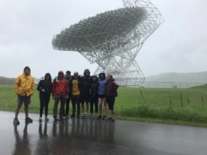 Students at the 100m radio telescope at Green Bank Radio Astronomy Observatory