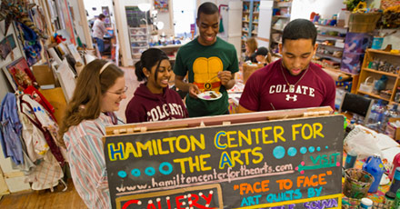 Colgate students volunteer at the Hamilton Center For The Arts in downtown Hamilton as part of the Martin Luther King, Jr. Day of Service.