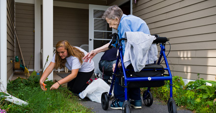 Colgate students extend their helping hands to the elderly residents of the Madison Lane Apartments.