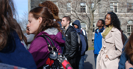 Students take part in the Speak Out against Sexual Assault march on the Colgate Campus.