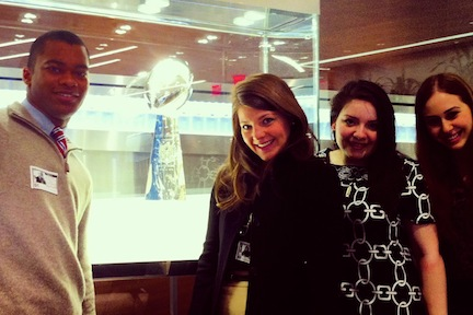 Student Participants with the Lombardi Trophy (NFL Headquarters)