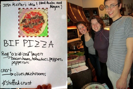 Megan Switzer, Avalon Bunge, and Josh Riefler are very happy with how their BIF Pizza turned out.