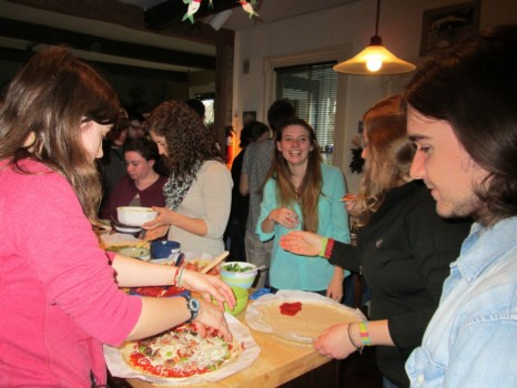 Pizza making in full swing - (back row, from left to right) Molly Gilligan, Kara Vadman, Caitlin Cunningham, and  Jacky Baughman: (in the foreground. l to r) - Rita Van Kirk and Matt Shramko