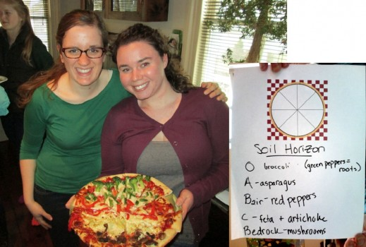 Halley Goldman and Molly Gilligan prooudly display their Soil Profile Pizza - a nod to their senior research projects