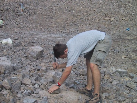 Adam Skarke takes a whack at finding some diamonds.