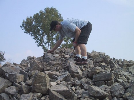 A lot of rocks to choose from but Darren Karn tries to pick a good one.