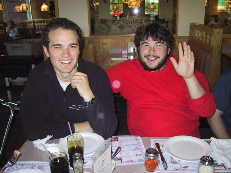 Drew Koff and Evan Goldstein anticipate a fine meal at the House of Pizza, Gloversville NY