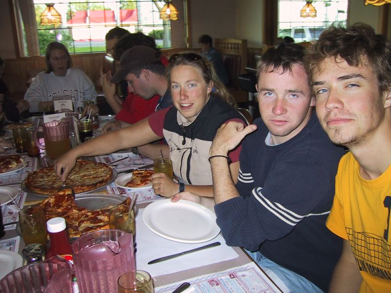 Give me some pizza NOW! Liz Hoekwater, Luke Dwyer and Bret Doverspike