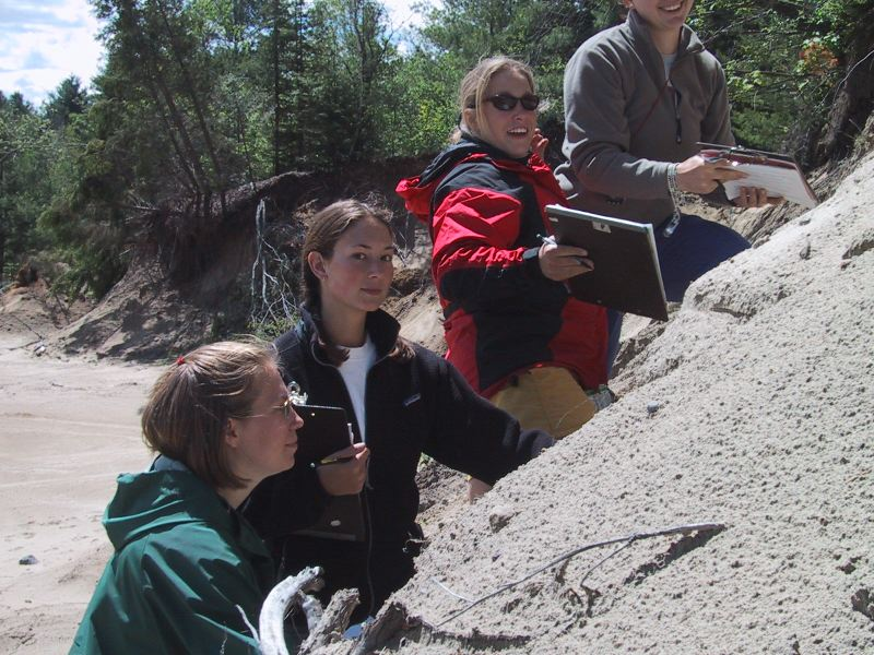 Four students demonstrating dip directions in sand quarry