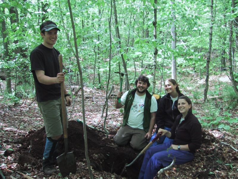 Drew Koff, Evan Goldstein, Emily Toffic and Emily Constantine proudly present their soil pit.