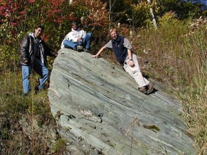 Johny Chaklader, Victor Matos & Chris Karmosky view Amphibolite/greenstone outside Jiminy Peak Ski area south of Williamstown MA