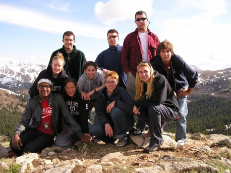 Part of the group suffering from oxygen deprivation above Loveland Pass. Back row: Adam Masur, Kevin Kelly, Mike Meredith; 2nd row: Tricia Hutchins, Emma Barth, Michael Scherr; Front row: Victor Matos, Kristi Woodworth, Alison Koleszar, Liz Rampe