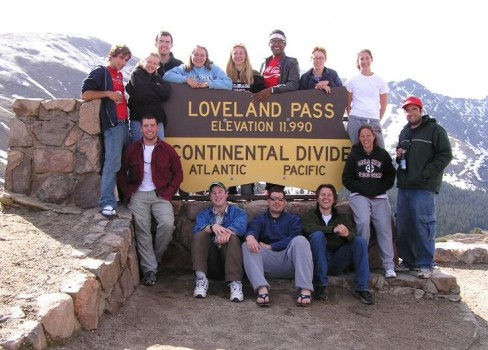 Group at Loveland Pass, Continental Divide. Back row: Michael Scherr, Tricia Hutchins, Adam Mansur, Ashley Nagle, Liz Rampe, Victor Matos, Alison Koleszar, Emma Barth; Front row: Mike Meredith, Darren Karn, Kevin Kelly, Jimmy Maritz, Kristi Woodworth, Frank Cherena