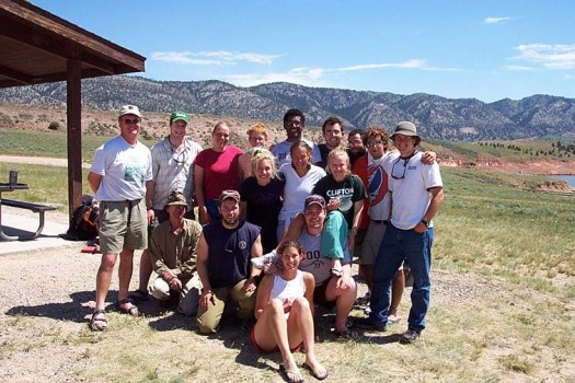 The group in Seminoe State Park, Wyoming - Back row: Dennis Geist, Darren Karn, Ashley Nagle, Alison Koleszar, Victor Matos, Adam Mansur, Frank Cherena, Michael Scherr, Jimmy Maritz; 2nd row standing: Liz Rampe, Kristi Woodworth, Tricia Hutchins; Seated: David Linsley, Mike Meredith, Emma Barth, Kevin Kelly