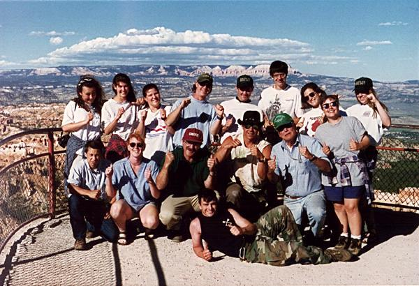 Group of students at scenic outlook at Zion National Park, Utah