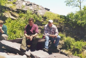 Pat Grassl and Dave Sunderlin ponder the slates at Cedar Point Quarry near Lake Bomoseen in the Taconics.