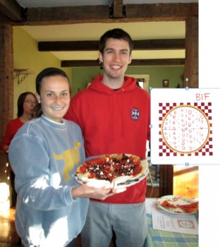 Katherine Schultz and Sam Brenman seem quite pleased with how their BIF Pizza turned out