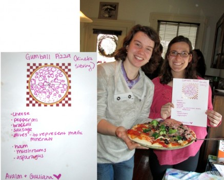 Avalon Bunge and Giuliana Kafaf proudly display their Gumball Pizza