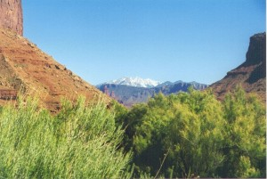 """LaSal Mountains as seen from the """"Little Grand Canyon"""", with Castle Valley in the distant mid-ground."""