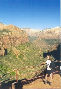 Cathy Bosek admires the Navajo Sandstone from the Zion Tunnel Overlook.