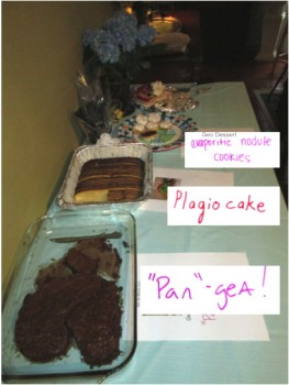 "Some of the desserts we were treated to included ""Pan""-gea!, Plagiocake, and Evaporite Nodule Cookies."