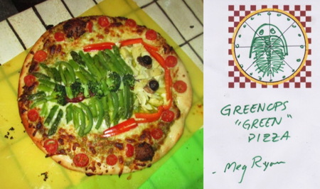 One of many fabulous GeoPizzas! - Meg Ryan gave a nod to her senior research topic with her Greenops Pizza