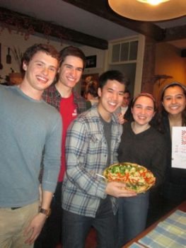 Petrology students (left to right: Alex Taylor, Seamus Crowley, Austin Sun, Lily Daggett, and Regina Pimentel) & their Skaergaard Intrusion Pizza.