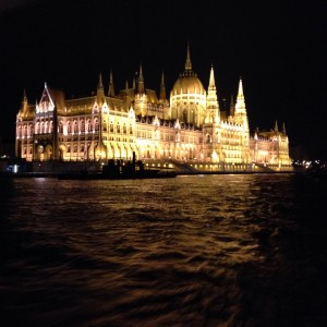 A view of the Hungarian parliament from the farewell dinner cruise boat.