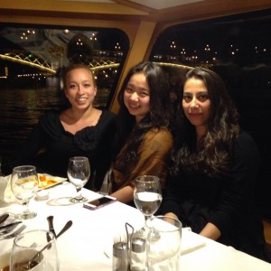 Sarah Stenske ('18), Iris Chen ('17), and Shambhavi Sawhney ('17) on the farewell dinner cruise in Budapest.