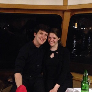 Logan Keig ('16) and Amanda James ('18) on the farewell dinner cruise in Budapest.