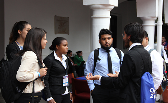 Roxanne Maduro '17, of Bronx, N.Y., (third from left) is one of four Colgate students participating in CMUDE 2015 as a judge.