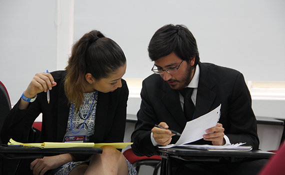 Colgate Spanish debaters in Valeria Felix '18, a sociology major from SanDiego, CA, and Federico Elizondo '18, a psychology and sociology double major from Laredo, TX, participate in a Spanish debate practice round at the CMUDE 2015 debate tournament in Bogotá.