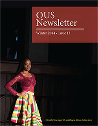OUS Newsletter featuring student modeling African fashion
