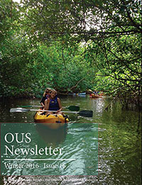Newsletter cover featuring students kayaking on river