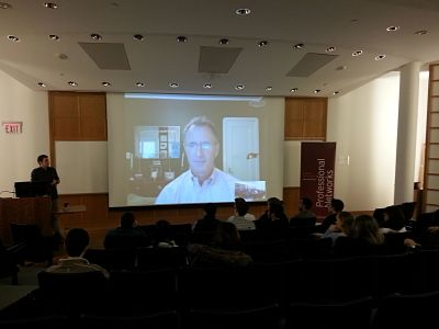 Bill Rindfuss '87 Skypes in with Colgate Finance Club