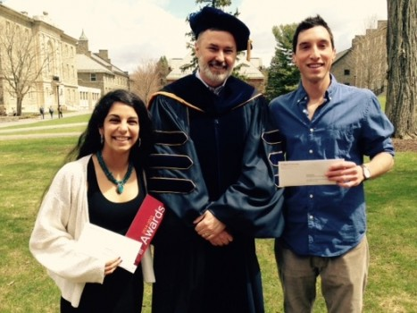 Cindy Gaete (left - Class of 2015) won SOAN's Ramshaw Service Award and Erik Jurado (right - also Class of 2015) won the Award for Excellence in Sociology and Anthropology.  The awards were presented by SOAN Department Chair, Professor Chris Henke (center).